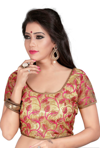 Beige Color Cotton And Net Stitched Blouse - 2013