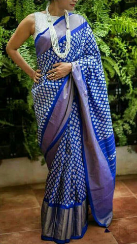 Blue Color Ikat Silk Pochampally Saree - LS-WA0070