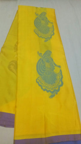 Yellow Color Pure Silk  Jari Gold Dharmavaram Saree - 20180911-WA0006