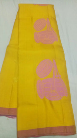 Yellow Color Pure Silk Jari Gold Dharmavaram Saree - 20180911-WA0009