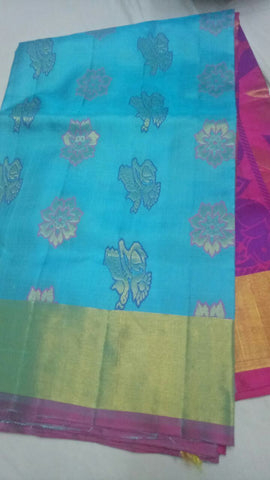 Sky Blue and Pink Color Pure Silk Jari Gold Dharmavaram Saree - 20180911-WA0010