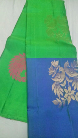 Green and Blue Color Pure Silk Jari Gold Dharmavaram Saree - 20180911-WA0011