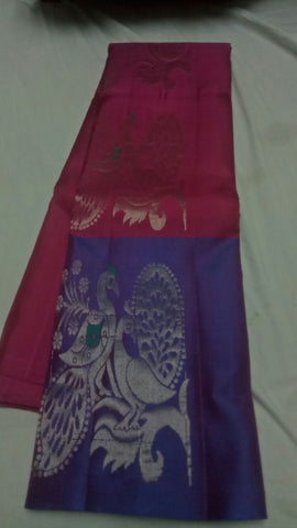 Maroon and Blue Color Pure Silk Jari Gold Dharmavaram Saree - 20180911-WA0012