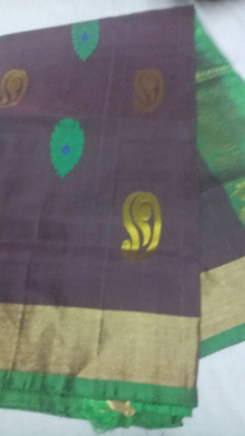 Coffee Color Pure Silk Jari Gold Dharmavaram Saree - 20180911-WA0013