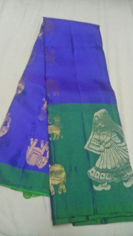 Dark Blue and Green Color Pure Silk Jari Gold Dharmavaram Saree - 20180911-WA0014