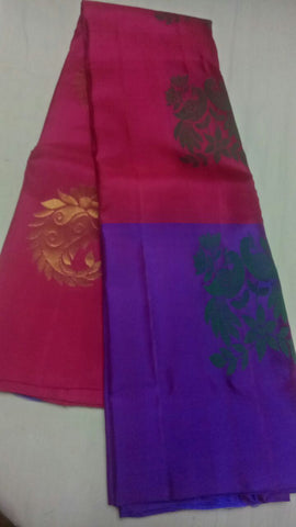 Maroon and Blue Color Pure Silk Jari Gold Dharmavaram Saree - 20180911-WA0015