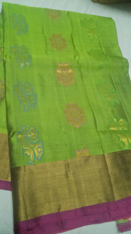 Parrot Green Color Pure Silk Jari Gold Dharmavaram Saree - 20180911-WA0016