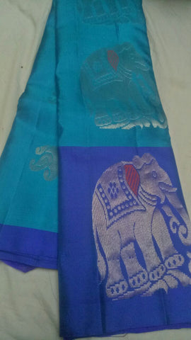 Rama Green and Blue Color Pure Silk Jari Gold Dharmavaram Saree - 20180911-WA0017