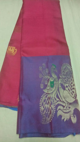 Maroon and Blue Color Pure Silk Jari Gold Dharmavaram Saree - 20180911-WA0018
