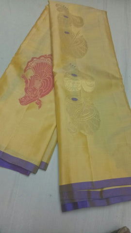 Light Yellow Color Pure Silk Jari Gold Dharmavaram Saree - 20180911-WA0019