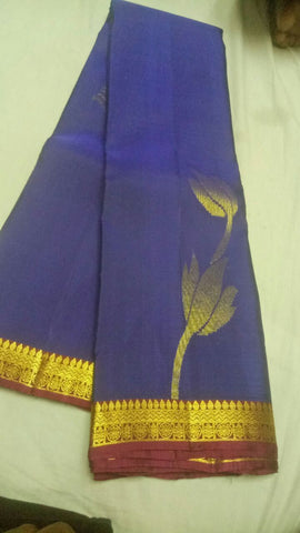 Navy Blue Color Pure Silk Jari Gold Dharmavaram Saree - 20180911-WA0020