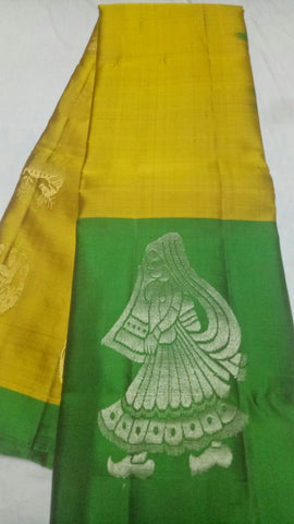 Yellow and Green Color Pure Silk Jari Gold Dharmavaram Saree - 20180911-WA0026