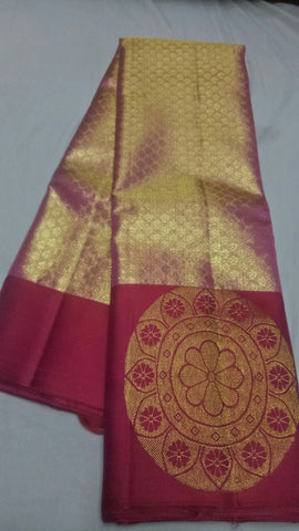Gold and Maroon Color Pure Silk 1grm Gold Dharmavaram Saree - 20180911-WA0029