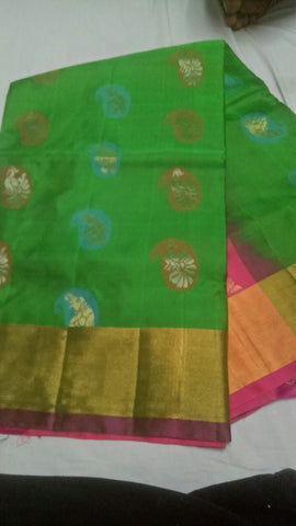 Green Color Pure Silk Jari Gold Dharmavaram Saree - 20180911-WA0031