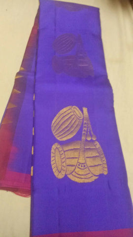 Blue Color Pure Silk Jari Gold Dharmavaram Saree - 20180911-WA0032