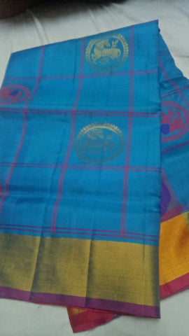 Blue Color Pure Silk Jari Gold Dharmavaram Saree - 20180911-WA0034