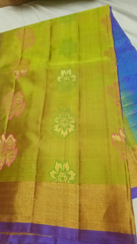 Multi Color Pure Silk Jari Gold Dharmavaram Saree - 20180911-WA0040