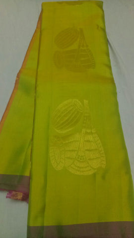 Parrot Green Color Pure Silk Jari Gold Dharmavaram Saree - 20180911-WA0041