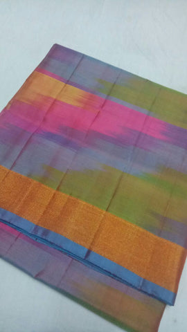 Multi Color Pure Silk Jari Gold Dharmavaram Saree - 20180911-WA0043