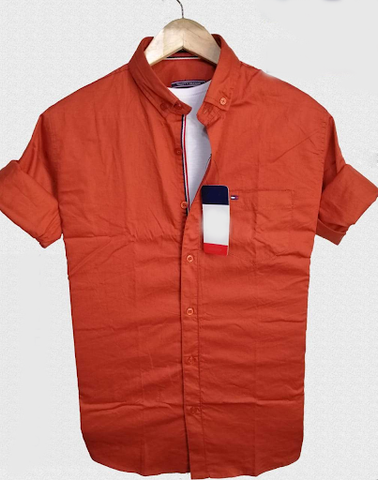 Orange Color Pure Cotton Men Shirt - TH-2