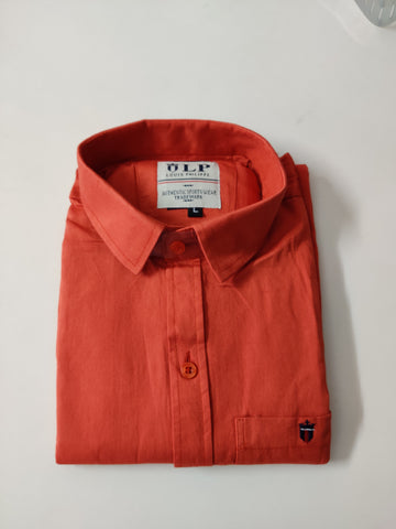 Coral Color Cotton Men's Solid Shirt - KMI-LP-PLAIN-4