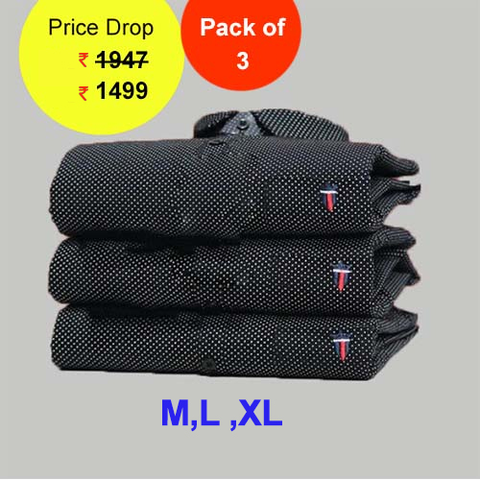 Pack of 3 - Black Color Premium Cotton Men's Polka Shirts - LPS-8
