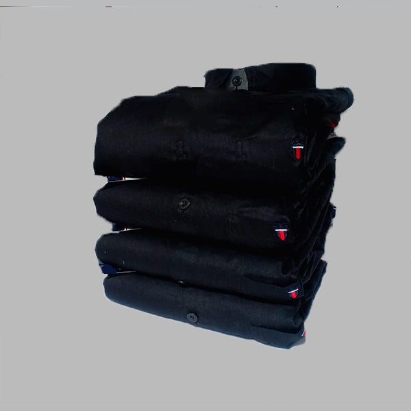 Black Color Premium Cotton Men's Plain Shirt - KG-211019-LP-PL-3