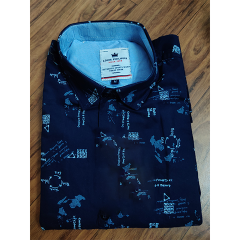 Navy Color Premium Cotton Men's Printed Shirt - CGTK-091219-LP-PR-4