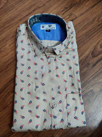 Beige Color Premium Cotton Men's Printed Shirt - CGTK-091219-LP-PR-2