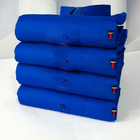 Royal Blue Color Premium Cotton Men's Plain Shirt - KG-211019-AS-PL-6