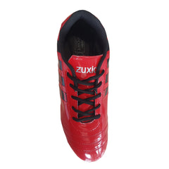 Red Color Synthetic Unisex Football Shoes - ZUXIOmodelFBStripeRed