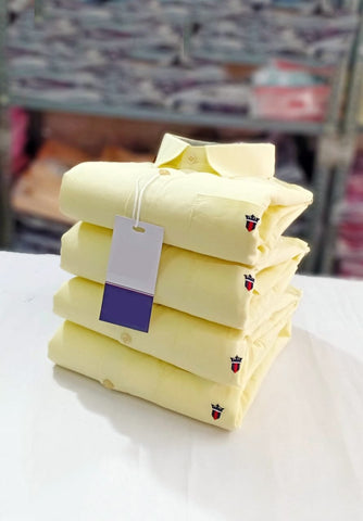 Light Yellow Color Premium Stuff Cotton Men's Solid Shirt - 20190712-WA0014