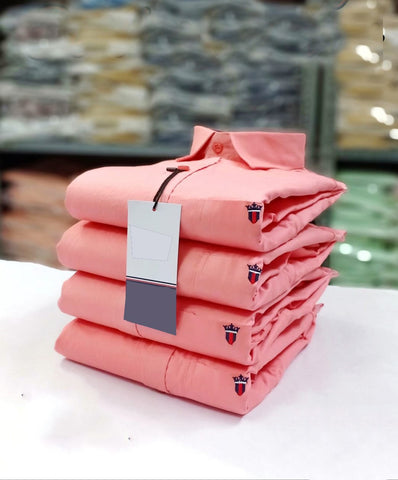 Coral Color Premium Stuff Cotton Men's Solid Shirt - 20190712-WA0022