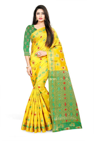 Yellow Color Fancy Cotton Silk Saree - 201CSYG