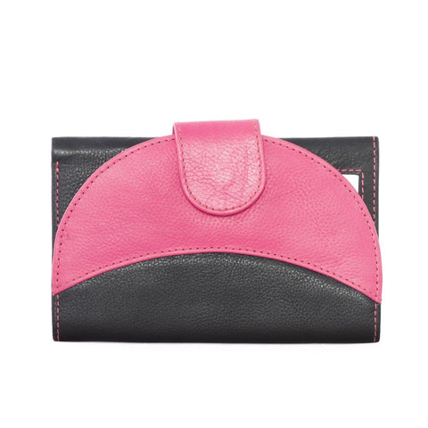 Pink And Black Color Leather Womens Wallet - 202-A