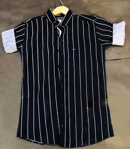Dark Navy Blue Color Cotton Men's Striped Shirt - THS-4