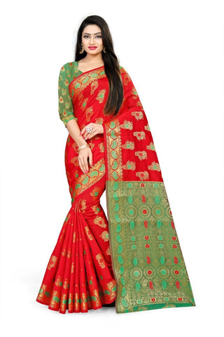 Red Color Fancy Cotton Silk Saree - 202CSRG
