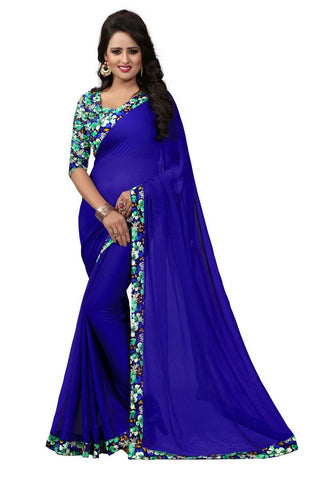 Blue Color Chiffon Saree - 2063