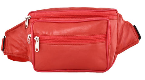 Red Color Leather Unisex Travel Bag - 207RED