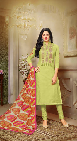 Green Color Chanderi Cotton UnStitched Salwar  - 20DMK525
