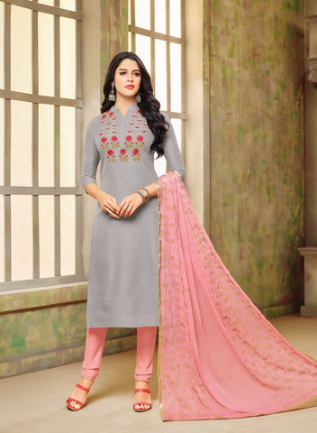 Grey Color Chanderi Cotton UnStitched Salwar  - 20DMK529