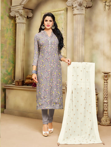 Grey Color Chanderi Cotton UnStitched Salwar  - 20DMK536