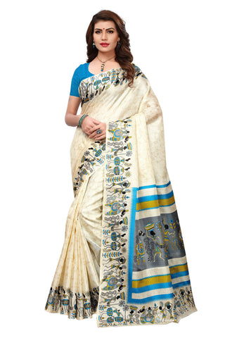 Beige Color Khadi Silk Printed Saree - 20