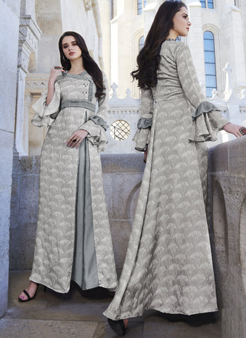 Grey Color  Japan Satin  Stitched Kurti  - 21005