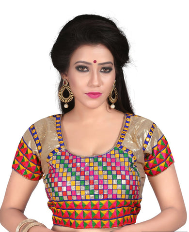Beige Color Silk Stitched Blouse - 2111