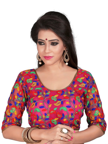 Multi Color Cotton And Net Stitched Blouse - 2112