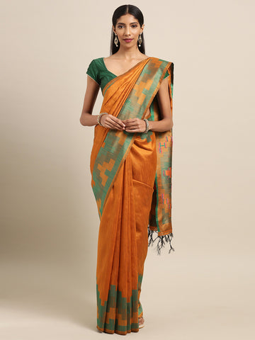 Orange Color Ikkat Silk Saree - 2140