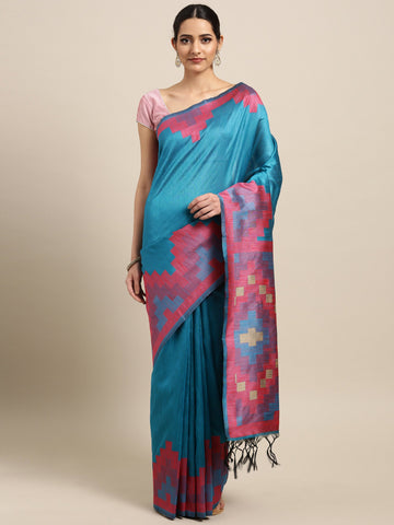 Blue Color Ikkat Silk Saree - 2141