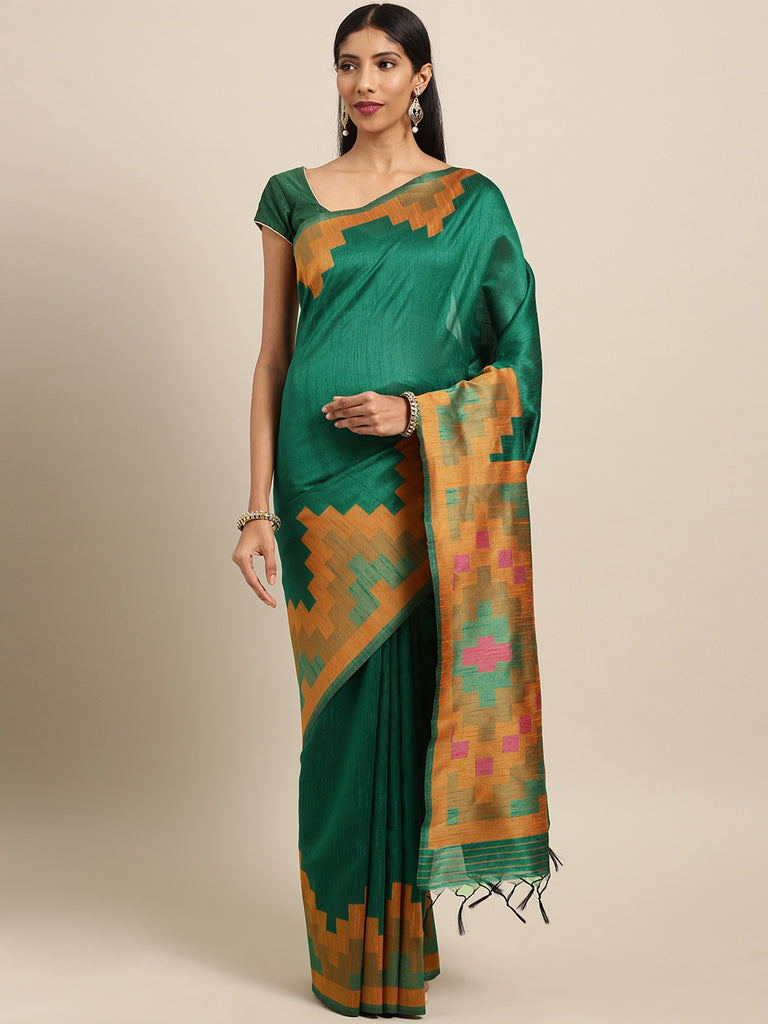 Buy Green Color Ikkat Silk Saree