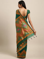 Green Color Ikkat Silk Saree - 2146